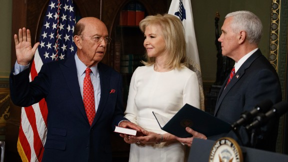 Pence swears in new Commerce Secretary Wilbur Ross as Ross