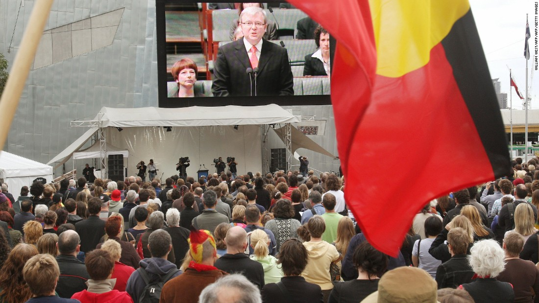 "On February 13, 2008, Prime Minister Kevin Rudd<a href=""http://edition.cnn.com/2008/WORLD/asiapcf/02/12/australia.text/index.html""> delivered a historic apology in parliament</a> to the Aboriginal people for injustices committed over two centuries of white colonization. The apology was viewed as a watershed moment in Australia, with major television networks airing it live and crowds gathering around huge screens in major cities to witness the event."