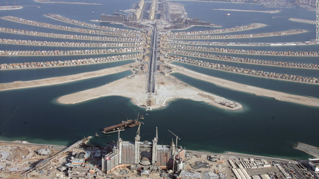 This is a view of the Palm Jumeirah after its completion in 2007. It was the first offshore development of its kind and has villas, hotels, shopping malls and its very own monorail.