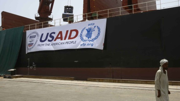 The US vessel Liberty Grace, hired by the World Food Program (WFP), is seen docked at Port Sudan on May 26, 2015, to deliver 47,500 metric tons of sorghum from USAID that is due to be given to people in Sudan's conflict-affected areas, including Darfur.