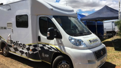 An AFP vehicle in front of the Young house where the 42-year-old Australian, accused of assisting ISIS, was arrested.