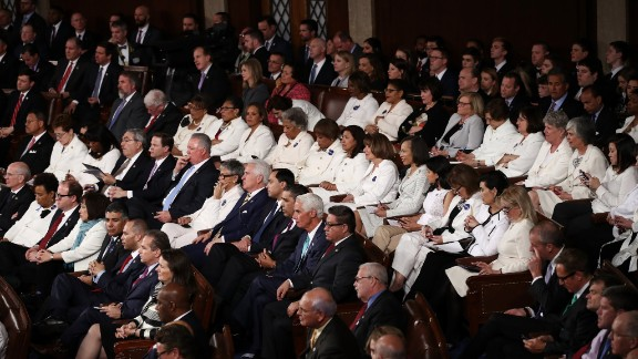 WASHINGTON, DC:  Members of congress wear white to honor the women's suffrage movement and support women's rights as President Donald Trump addresses a joint session of the U.S. Congress on February 28, 2017 (Photo by Win McNamee/Getty Images)