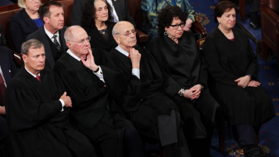 Supreme Court justices watch the speech. From left, in front, are John Roberts, Anthony Kennedy, Stephen Breyer, Sonia Sotomayor and Elena Kagan.
