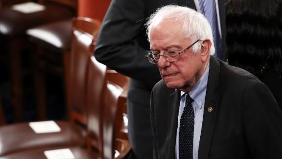 US Sen. Bernie Sanders arrives for the speech.