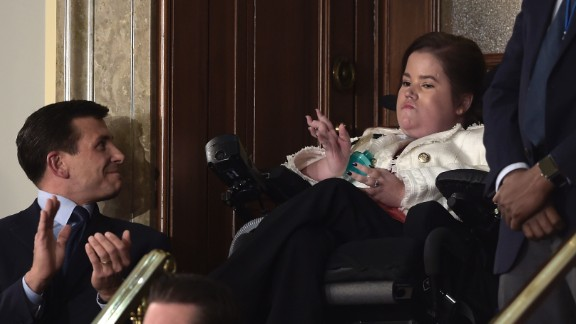 "Trump also recognized Megan Crowley, a college student who, at 15 months old, was diagnosed with Pompe disease and wasn't expected to live past age 5. Her father founded a pharmaceutical company to find a cure. ""Megan's story is about the unbounded power of a father's love for a daughter,"" Trump said. ""But our slow and burdensome approval process at the Food and Drug Administration keeps too many advances, like the one that saved Megan's life, from reaching those in need."""