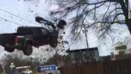 Truck goes airborne in police chase