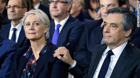 Francois Fillon and his wife Penelope Fillon at a campaign meeting on January 29 in Paris.