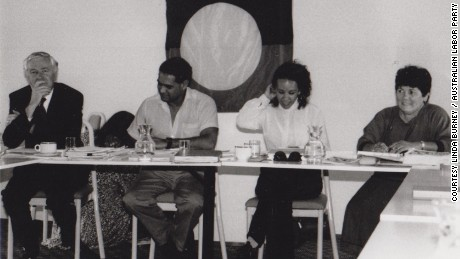 Linda Burney in 1997 with the Aboriginal Education Consultative Group (AECG).