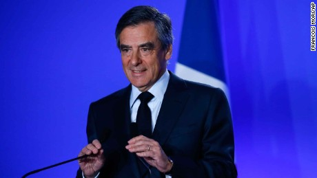 Presidential candidate Francois Fillon gives a press conference at his campaign headquarters in Paris on Wednesday.