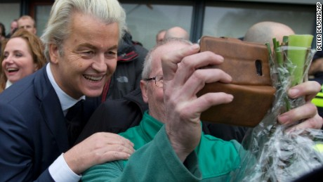 Geert Wilders poses for a selfie in Spijkenisse, near Rotterdam, on February 18.