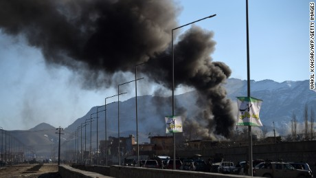 Smoke rises from an Afghan police district headquarters building after a suicide car bomb attack as a gun battle between Taliban and Afghan security forces continues in Kabul on March 1, 2017.   Explosions and gunfire echoed through Kabul after near simultaneous Taliban suicide assaults on two security compounds, as the insurgents ramp up attacks even before the start of their annual spring offensive. / AFP / WAKIL KOHSAR        (Photo credit should read WAKIL KOHSAR/AFP/Getty Images)