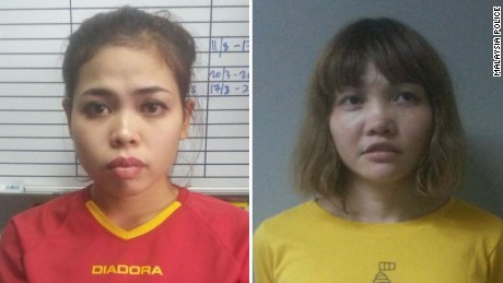 Siti Aisyah (left) and Doan Thi Huong have been charged with the murder of Kim Jong Nam in Malaysia on February 13.