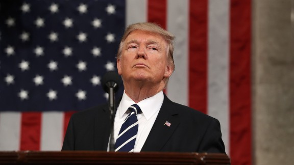 US President Donald J. Trump delivers his first address to a joint session of Congress from the floor of the House of Representatives in Washington, DC, USA, 28 February 2017.   / AFP / EPA POOL / JIM LO SCALZO        (Photo credit should read JIM LO SCALZO/AFP/Getty Images)