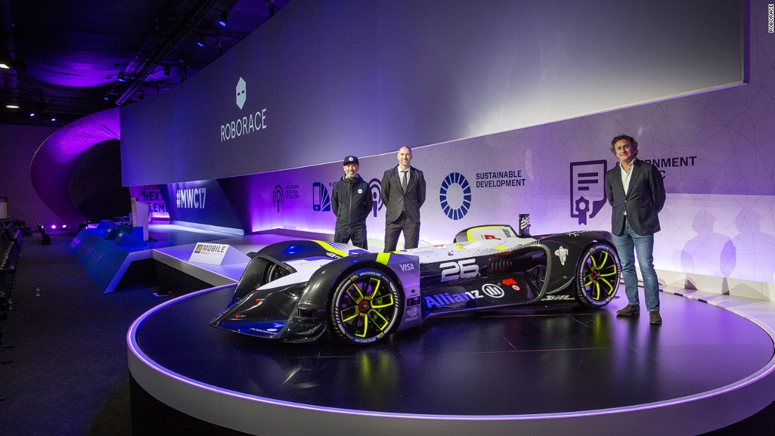 The car was unveiled at the Mobile World Congress in Barcelona. Denis Sverdlov, Roborace CEO (left) CDO Daniel Simon (center), and Formula E CEO Alejandro Agag (right) attended the car's launch.