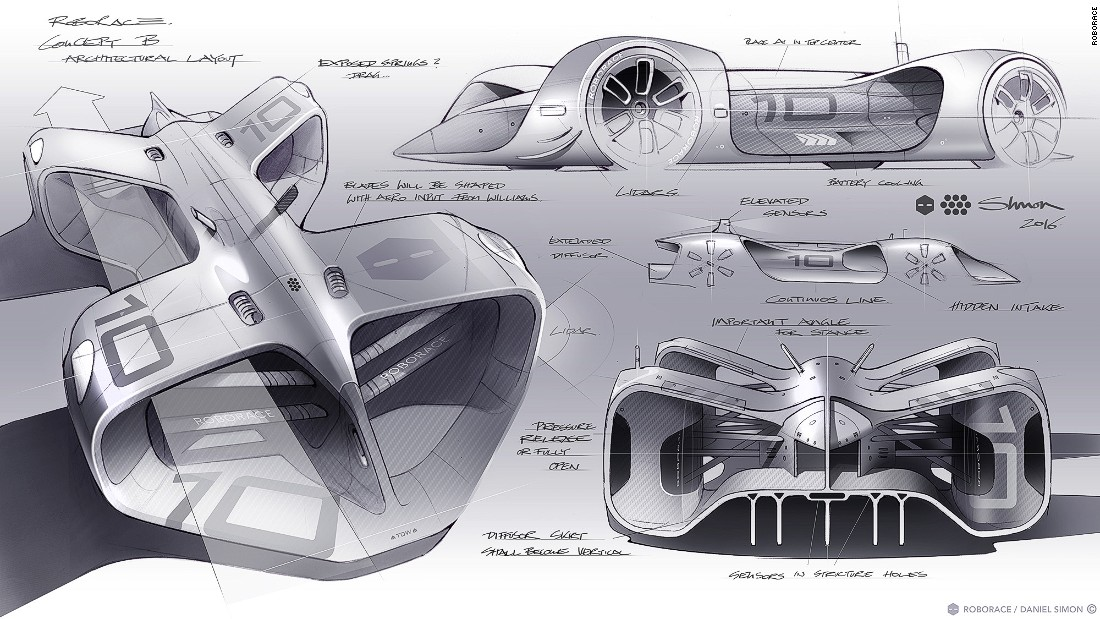 A collection of concept sketches of the autonomous car by Daniel Simon.