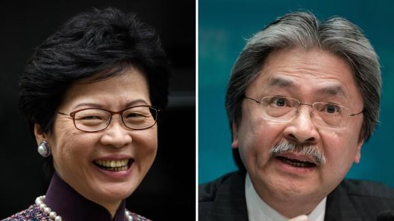 Hong Kong Chief Executive candidates Carrie Lam and John Tsang.
