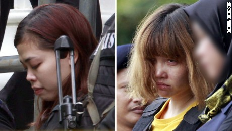 Siti Aisyah, left, and Doan Thi Huong, right, seen on March 1. Both women have been charged with murder in connection with the death of Kim Jong Nam.