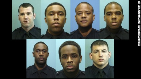 Top: Daniel Hersl, Evodio Hendrix, Jemell Rayam, Marcus Taylor; bottom: Maurice Ward, Momodu Gando, and Wayne Jenkins -- the seven police officers facing charges.