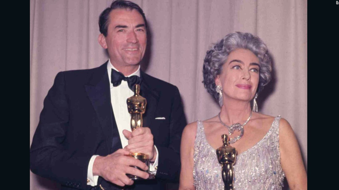 "Crawford shares the Oscar spotlight with best actor winner Gregory Peck (""To Kill a Mockingbird"") at the 1963 ceremony. She holds the best actress award for Anne Bancroft (""The Miracle Worker""), who was appearing in a play in New York. Davis received her 10th Oscar nomination for best actress for ""Baby Jane"" -- then a record -- and she hoped to become the first actress to win three Academy Awards. She was devastated when she lost, but Crawford wasn't. Denied a nomination herself, Crawford offered to accept the award for Bancroft or other no-show nominees, infuriating Davis."