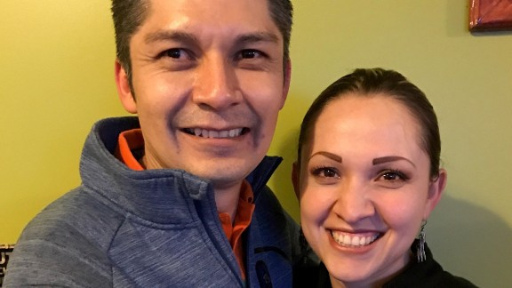 Juan Carlos Hernandez-Pacheco's celebrates with his wife Elizabeth following his release for being detained as an undocumented immigrant.