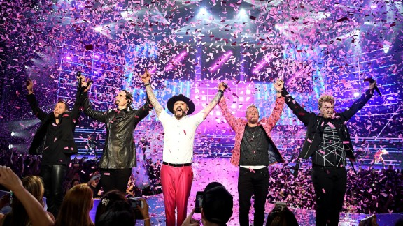 """Singers Howie Dorough, Kevin Richardson, AJ McLean, Brian Littrell and Nick Carter of the Backstreet Boys perform during the launch of the group's residency """"Larger Than Life"""" at The Axis at Planet Hollywood Resort & Casino on March 1, 2017 in Las Vegas, Nevada."""