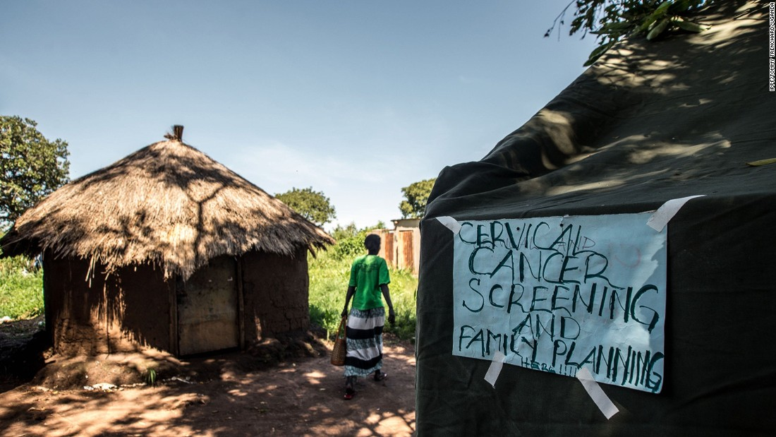 A makeshift cervical cancer screening hut during a mobile clinic visit. Cervical cancer screening will be one of the areas affected, says International Planned Parenthood Federation (IPPF).