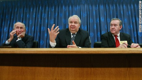 "NEW YORK - OCTOBER 24:  Sergey Kislyak, Russian Ambassador to the United States (C) speaks as John Mroz, President of the EastWest Institute (R) and Max Kampelman, former head of U.S. negotiations with the Soviet Union on nuclear and space arms (L), look on during a press conference on nuclear non-proliferation at United Nations headquarters October 24, 2008 in New York City. The group discussed a new intitiative to ""break the logjam"" on nuclear non-proliferation.  (Photo by Mario Tama/Getty Images)"