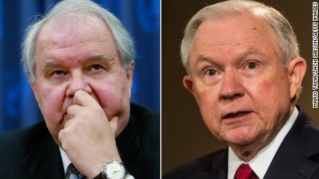 Sergey Kislyak (left) met twice with Jeff Sessions in 2016 before he was appointed Attorney General in the Trump administration.
