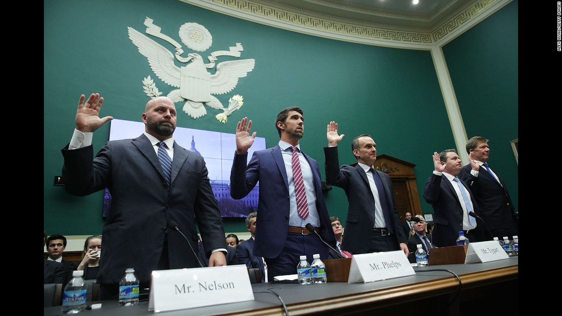 "Olympic gold medalists Adam Nelson and Michael Phelps are among those sworn in before a House committee in Washington on Tuesday, February 28. They were calling for greater international policing of doping in sports. ""I don't believe I've stood up at an international competition and the rest of the field has been clean,"" <a href=""http://www.cnn.com/2017/03/01/sport/michael-phelps-house-of-representatives-evidence/"" target=""_blank"">said Phelps,</a> the most decorated Olympian of all time. ""I don't think I've ever felt that."""