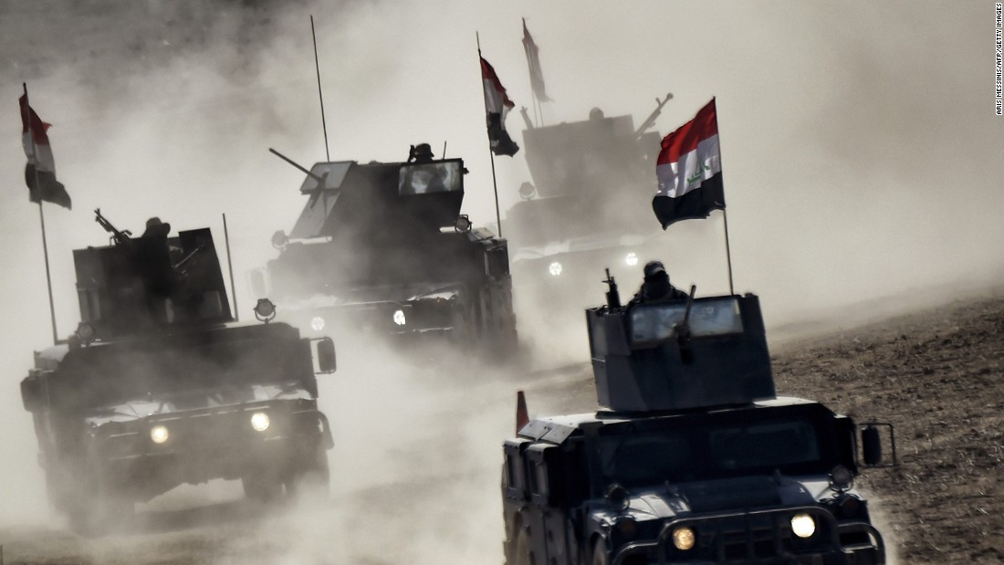 "Iraqi troops advance during <a href=""http://www.cnn.com/2016/10/17/world/gallery/mosul/index.html"" target=""_blank"">the offensive to take back the northern city of Mosul</a> on Friday, February 24. Mosul had been under the control of the ISIS terror group."