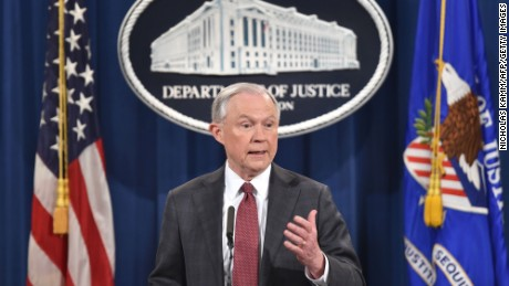 US Attorney General Jeff Sessions speaks during a press conference at the US Justice Department on March 2, 2017, in Washington DC.