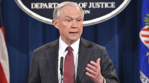 US Attorney General Jeff Sessions speaks during a press conference at the US Justice Department on March 2, 2017, in Washington DC.Sessions announced Thursday that he would recuse himself from any investigations into President Donald Trump's 2016 election campaign. But after receiving a strong endorsement from Trump, Sessions did not bow to pressure to step down over charges he lied to Congress about his contacts with the Russian ambassador before the election. / AFP PHOTO / Nicholas Kamm        (Photo credit should read NICHOLAS KAMM/AFP/Getty Images)