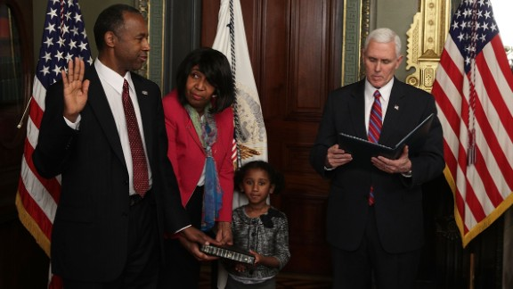 Ben Carson is joined by his wife, Candy, and his granddaughter Tesora as he is sworn in as the secretary of housing and urban development on March 2. The renowned neurosurgeon and former presidential candidate was confirmed by a vote of 58-41.