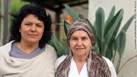 Berta Cáceres with her mother Doña Berta in their home in La Esperanza, Intibucá, Honduras.