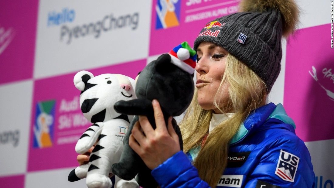 "Lindsey Vonn, one of the biggest names in skiing, had had a tumultuous season after <a href=""http://cnn.com/2016/11/11/sport/lindsey-vonn-broken-arm/"">breaking her arm</a> in November. She has made an impressive return, claiming the <a href=""http://cnn.com/2017/01/21/sport/lindsey-vonn-wins-garmisch-partenkirchen-downhill-skiing/"">77th World Cup win of her career</a> in Garmisch-Partenkirchen, Germany. Here, Vonn poses with the two Pyeongchang 2018 Winter Games mascots ahead of the tour visiting Jeongseon, South Korea."