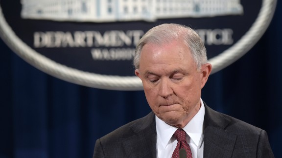 """US Attorney General Jeff Sessions pauses during a news conference in Washington on Thursday, March 2. In a statement, Sessions <a href=""""http://www.cnn.com/2017/03/02/politics/democrats-sessions-russia-resignation-call/index.html"""" target=""""_blank"""">recused himself</a> from any investigation related to President Donald Trump's 2016 campaign. He made the decision after it emerged that he failed at his Senate confirmation hearing to disclose two pre-election meetings with Moscow's ambassador to Washington. Sessions spokeswoman Sarah Isgur Flores said there was nothing """"misleading about his answer"""" to Congress because the Alabama Republican """"was asked during the hearing about communications between Russia and the Trump campaign -- not about meetings he took as a senator and a member of the Armed Services Committee."""" She said Sessions had more than 25 conversations with foreign ambassadors last year."""