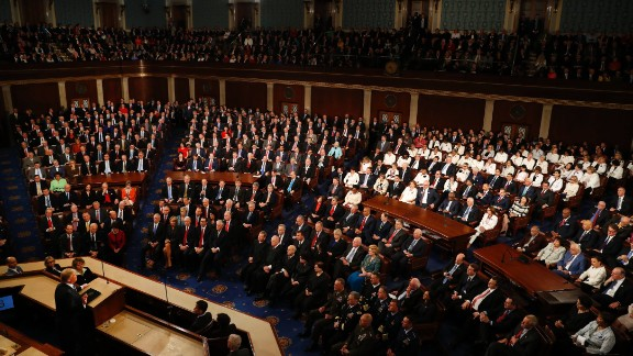 """President Donald Trump <a href=""""http://www.cnn.com/2017/02/28/politics/gallery/trump-joint-address-congress/index.html"""" target=""""_blank"""">addresses a joint session of Congress</a> for the first time on Tuesday, February 28. His uplifting message was dramatically different from his usual rhetoric -- and also from his usual controversies. <a href=""""http://www.cnn.com/2017/03/01/politics/trump-address-congress-highlights/"""" target=""""_blank"""">Read more: 6 takeaways from Trump's address to Congress</a>"""