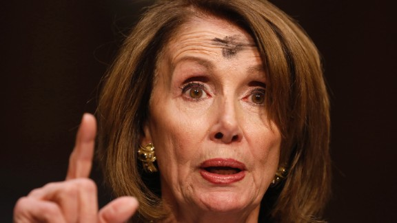 House Minority Leader Nancy Pelosi speaks at a hearing on Capitol Hill on Wednesday, March 1. The mark on her head was in observance of Ash Wednesday, the beginning of the holy season of Lent for many Christians in the West.