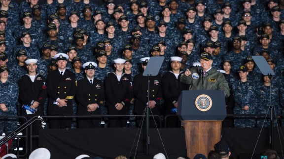 """President Trump speaks to Navy sailors and civilian shipbuilders <a href=""""http://www.cnn.com/2017/03/02/politics/donald-trump-navy-speech-virginia/"""" target=""""_blank"""">aboard the USS Gerald R. Ford,</a> a soon-to-be-commissioned aircraft carrier in Newport News, Virginia, on Thursday, March 2. He touted his calls for a multibillion-dollar military investment, promising a """"great rebuilding of our military might."""""""