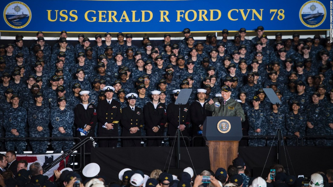 "President Trump speaks to Navy sailors and civilian shipbuilders <a href=""http://www.cnn.com/2017/03/02/politics/donald-trump-navy-speech-virginia/"" target=""_blank"">aboard the USS Gerald R. Ford,</a> a soon-to-be-commissioned aircraft carrier in Newport News, Virginia, on Thursday, March 2. He touted his calls for a multibillion-dollar military investment, promising a ""great rebuilding of our military might."""
