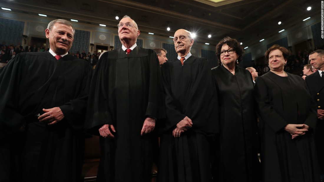 Supreme Court justices attend President Trump's address to Congress on Tuesday, February 28. From left are John Roberts, Anthony Kennedy, Stephen Breyer, Sonia Sotomayor and Elena Kagan.