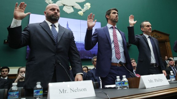 """Olympic gold medalists Adam Nelson and Michael Phelps are among those sworn in before a House committee in Washington on Tuesday, February 28. They called for greater international policing of doping in sports. """"I don't believe I've stood up at an international competition and the rest of the field has been clean,"""" <a href=""""http://www.cnn.com/2017/03/01/sport/michael-phelps-house-of-representatives-evidence/"""" target=""""_blank"""">said Phelps,</a> the most decorated Olympian of all time. """"I don't think I've ever felt that."""""""