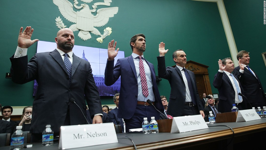 "Olympic gold medalists Adam Nelson and Michael Phelps are among those sworn in before a House committee in Washington on Tuesday, February 28. They called for greater international policing of doping in sports. ""I don't believe I've stood up at an international competition and the rest of the field has been clean,"" <a href=""http://www.cnn.com/2017/03/01/sport/michael-phelps-house-of-representatives-evidence/"" target=""_blank"">said Phelps,</a> the most decorated Olympian of all time. ""I don't think I've ever felt that."""