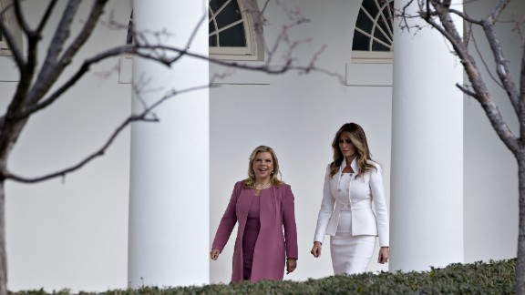 The first lady walks with Sara Netanyahu at the White House in February 2017. Israeli Prime Minister Benjamin Netanyahu was in Washington to strengthen US-Israel relations after some strained years during the Obama administration.