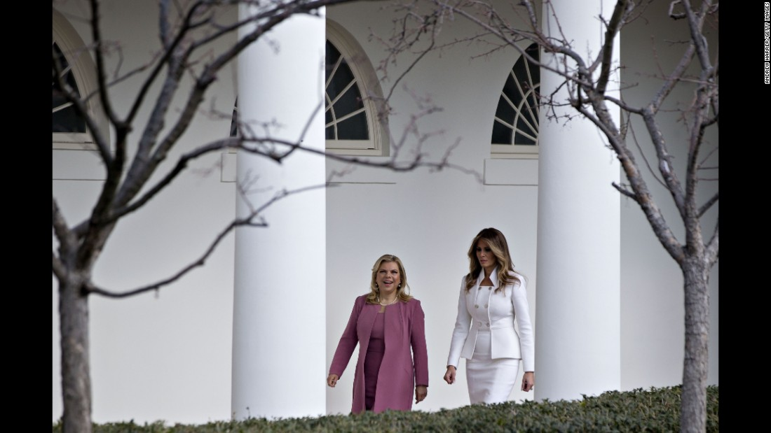 "The first lady walks with Sara Netanyahu at the White House in February 2017. Israeli Prime Minister <a href=""http://www.cnn.com/2017/02/14/politics/trump-israel-netanyahu-washington-visit/"" target=""_blank"">Benjamin Netanyahu was in Washington</a> to strengthen US-Israel relations after some strained years during the Obama administration."