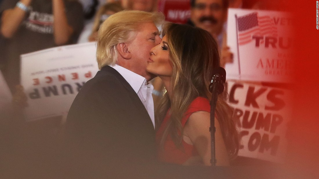 "The President kisses his wife as they are introduced at <a href=""http://www.cnn.com/2017/02/18/politics/donald-trump-florida-campaign-rally/"" target=""_blank"">a rally in Melbourne, Florida,</a> in February 2017."