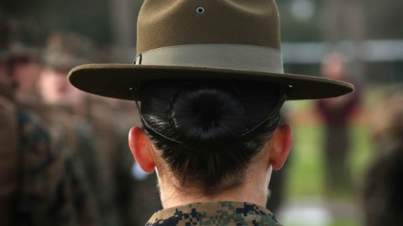 PARRIS ISLAND, SC - FEBRUARY 27:  Drill Instructor SSgt. Linda Vansickle from Pensacola, Florida speaks to her female Marine recruits during boot camp February 27, 2013 at MCRD Parris Island, South Carolina. Female enlisted Marines have gone through recruit training at the base since 1949. About 11 percent of female recruits who arrive at the boot camp fail to complete the training, which can be physically and mentally demanding. On January 24, 2013 Secretary of Defense Leon Panetta rescinded an order, which had been in place since 1994, that restricted women from being attached to ground combat units. About six percent of enlisted Marines are female.  (Photo by Scott Olson/Getty Images)