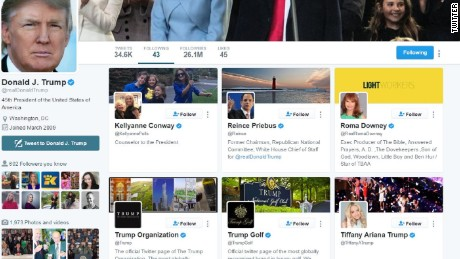 Trump S Twitter Feed This Is What He Sees When He Opens It Cnnpolitics