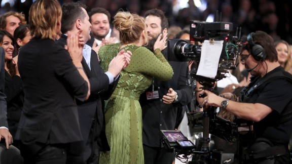 Singer Adele kisses Simon Konecki during the Grammy Awards in February 2017. Adele  confirmed during a concert in Brisbane, Australia, that she and Konecki are married.