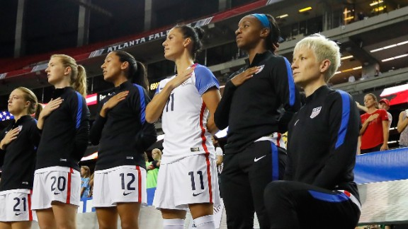 Megan Rapinoe #15 kneels during the National Anthem prior to the match between the US and the Netherlands in September 2016.